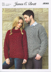 Sweaters in James C. Brett Rustic with Wool Aran (JB363)