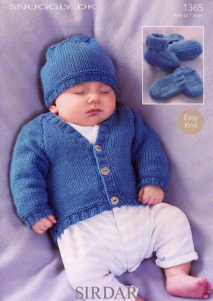 Cardigan, Hat, Bootees and Mittens in Sirdar Snuggly DK (1365)-Deramores