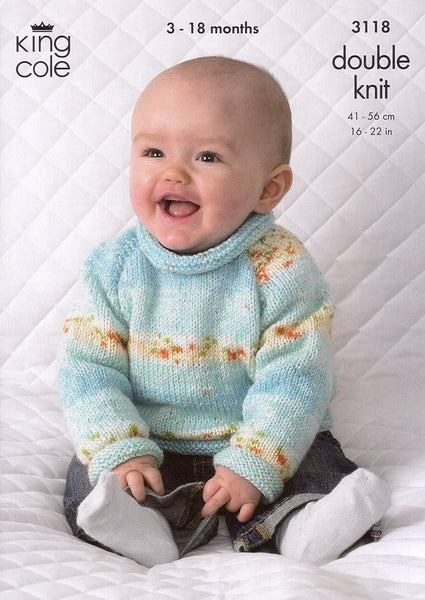 Cardigan and Sweater in King Cole Splash DK (3118)-Deramores