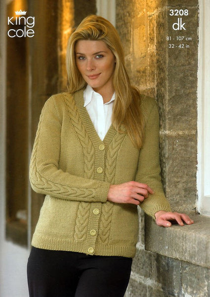 Cardigan and Sweater in King Cole Merino DK (3208)-Deramores