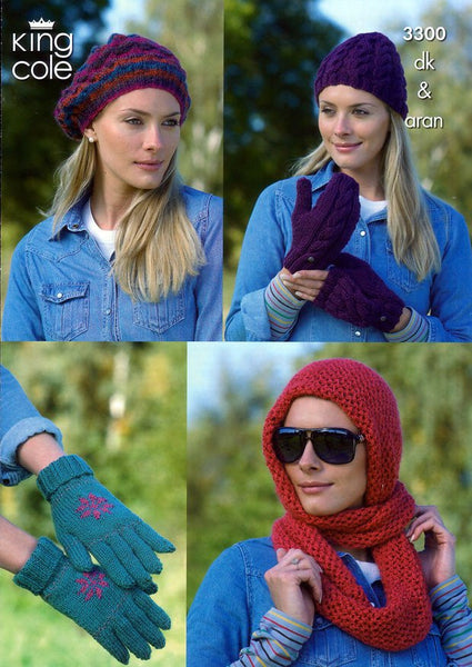 Ladies Hats, Mittens, Gloves and Snood in King Cole DK and King Cole Aran (3300)