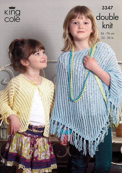 Girls Poncho & Cardigan in King Cole DK (3347)