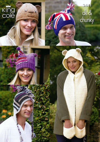 Adults Novelty Hats in King Cole DK and King Cole Chunky (3441)
