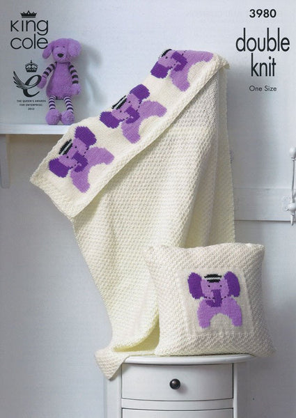 Blanket and Cushion in King Cole Comfort DK (3980)-Deramores