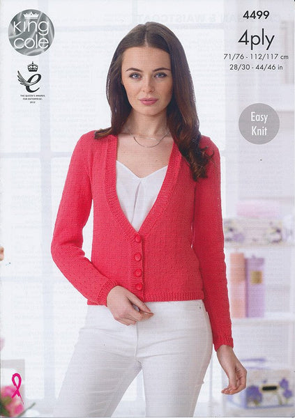 Cardigan and Waistcoat in King Cole Giza Cotton 4 Ply (4499)-Deramores