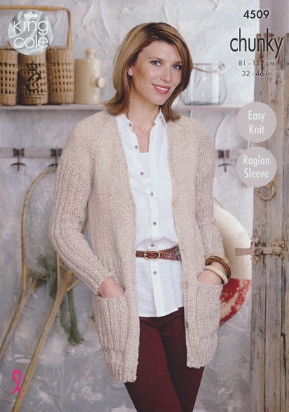 Cardigan and Sweater in King Cole Authentic Chunky (4509)-Deramores