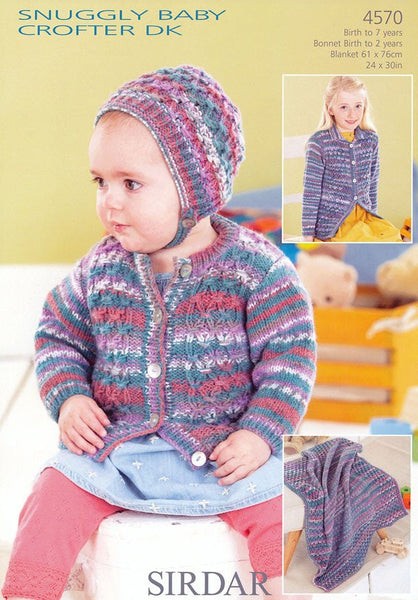 Babies and Girls Cardigans, Bonnet and Blanket in Sirdar Snuggly Baby Crofter DK (4570)-Deramores