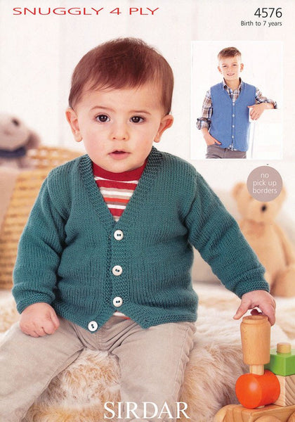 Boys V Neck Cardigan and Waistcoat in Sirdar Snuggly 4 Ply (4576)-Deramores