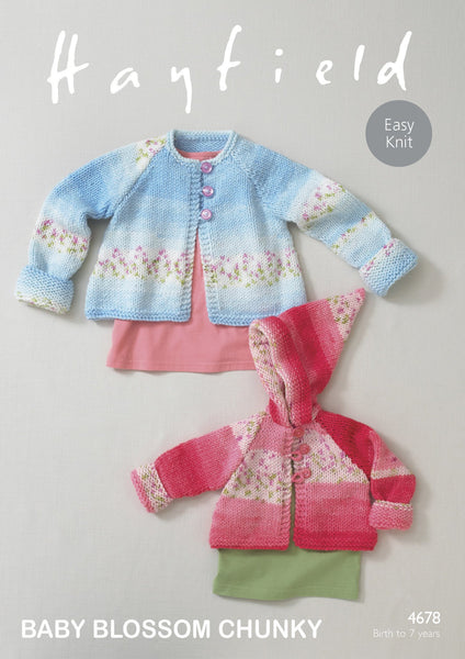 Round Neck and Hooded Coats in Hayfield Baby Blossom Chunky (4678)