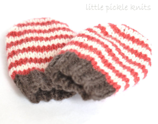 4ply Stripy Baby Mittens by Linda Whaley - Digital Version
