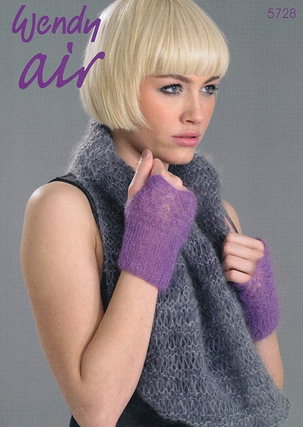 Cowl, Mitts and Scarf in Wendy Air (5728)-Deramores