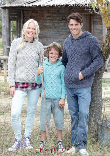 Boys and Mens Hooded Sweater and Womens Round Neck Sweater in Hayfield Bonus Aran (7254) - Digital Version-Deramores