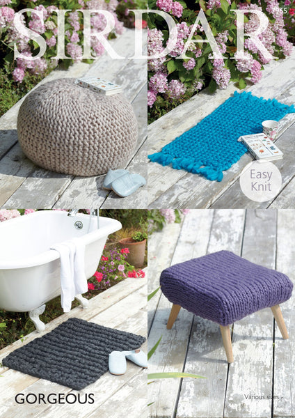 Foot Stool Covers and Rugs in Sirdar Gorgeous (7965) Digital Version