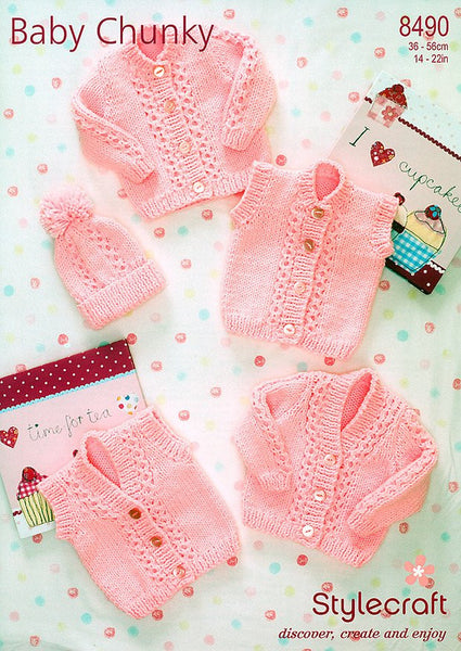 Cardigans, Waistcoats & Hat in Stylecraft Special Baby Chunky (8490)-Deramores