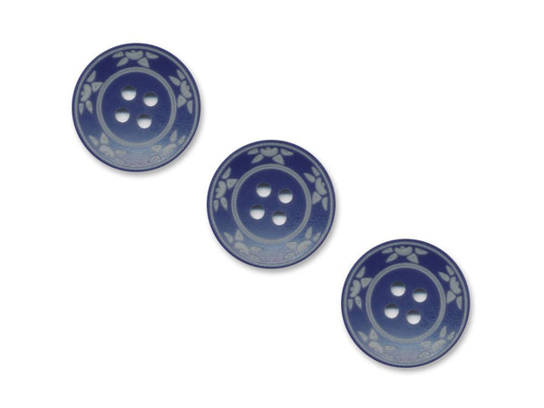 Round Floral Detailed Buttons - Blue - 976