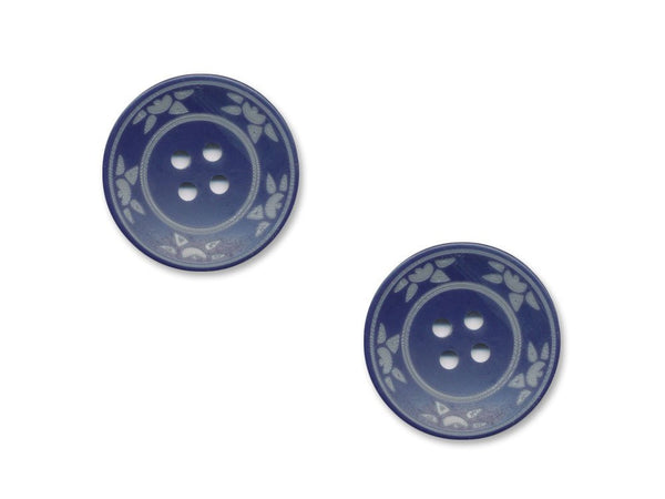 Round Floral Detailed Buttons - Blue - 977