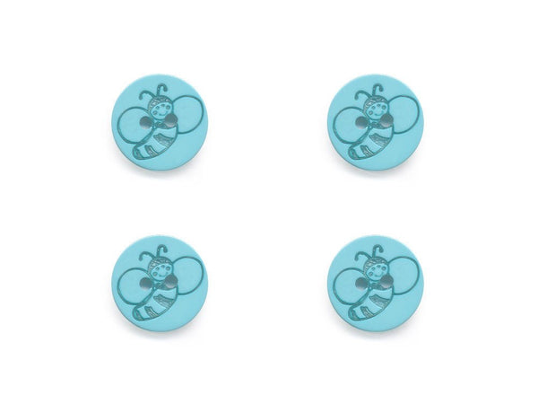 Round Bee Print Buttons - Blue - 441