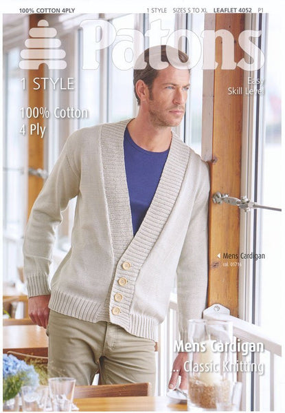 Mens Cardigan in Patons 100% Cotton 4 Ply (4052)