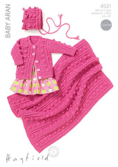 Girls Round Neck Cardigan, Bonnet and Blanket in Hayfield Baby Aran (4531)