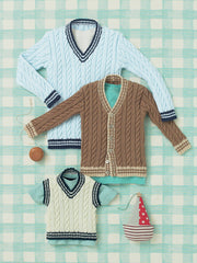 Babies and Boys Sweater, Tank and Cardigan in Sirdar Snuggly 4 Ply (4641)