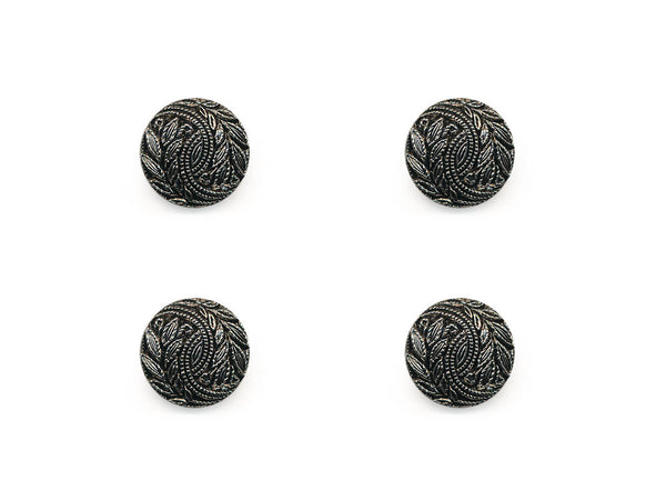 Round Textured Design Buttons - Silver/Black - 342