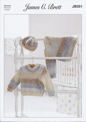 Sweaters and Hat in James C. Brett Baby Marble Chunky (JB351)