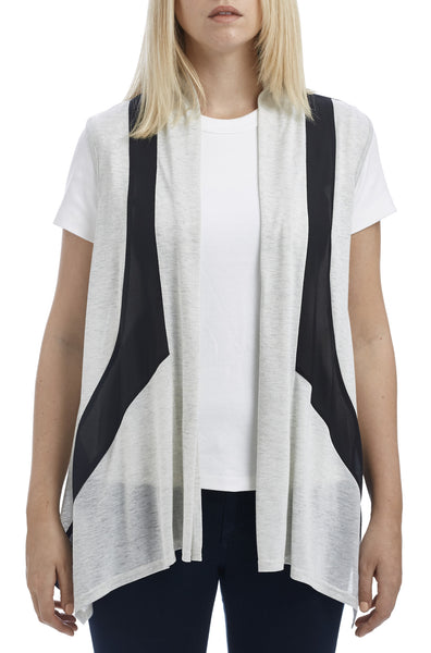 Color Paneled Knit Chiffon Vest