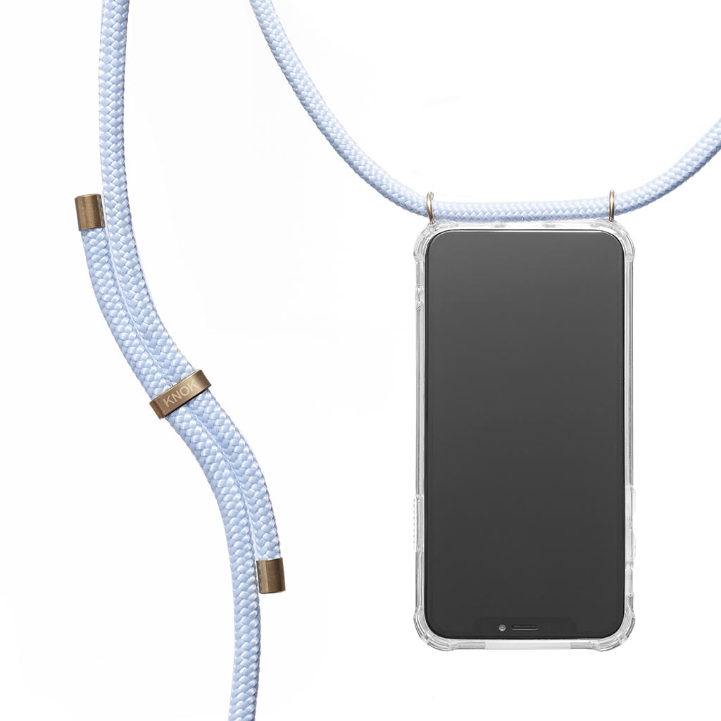KNOK CASE phone necklace in baby blue - crossbody phone case with strap