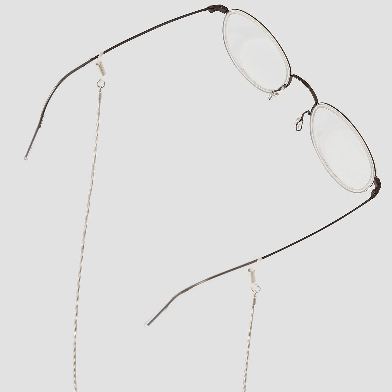KNOK Silver Plated Baem Glasses chain shown with glasses