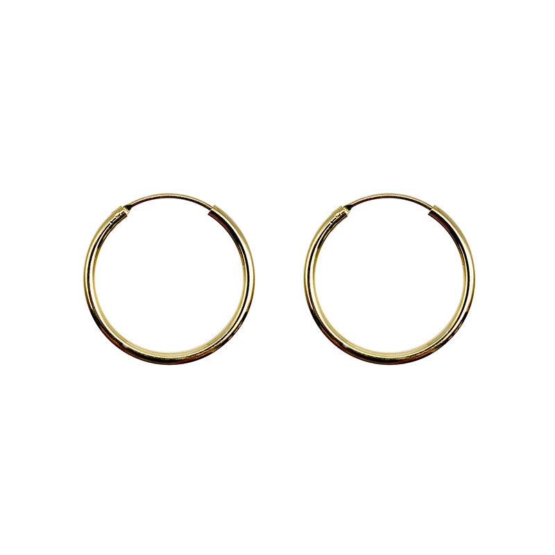 925 Sterling Silver 18K Gold plated HOOP earing (Gold) in Midium -KNOK STORE