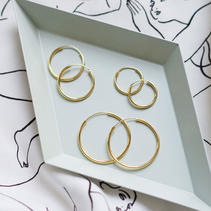 925 Sterling Silver 18K Gold plated HOOP earing (Gold) in Small -KNOK STORE