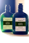 Root Strength Organic Shampoo for damaged or thinning hair. Shown with Damage Relief Shampoo