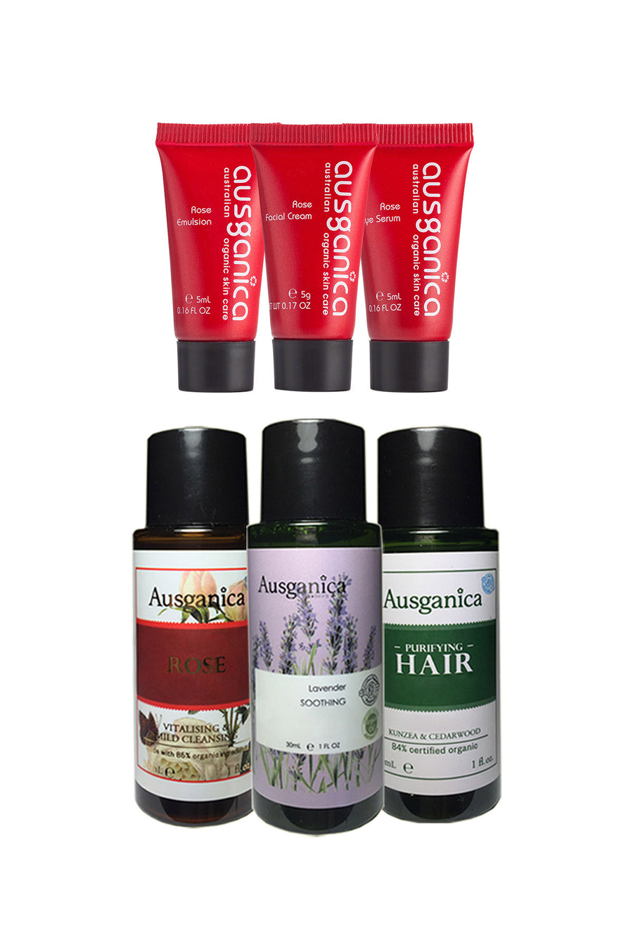 Try Ausganica 6 piece brand sample set of organic hair and skin products