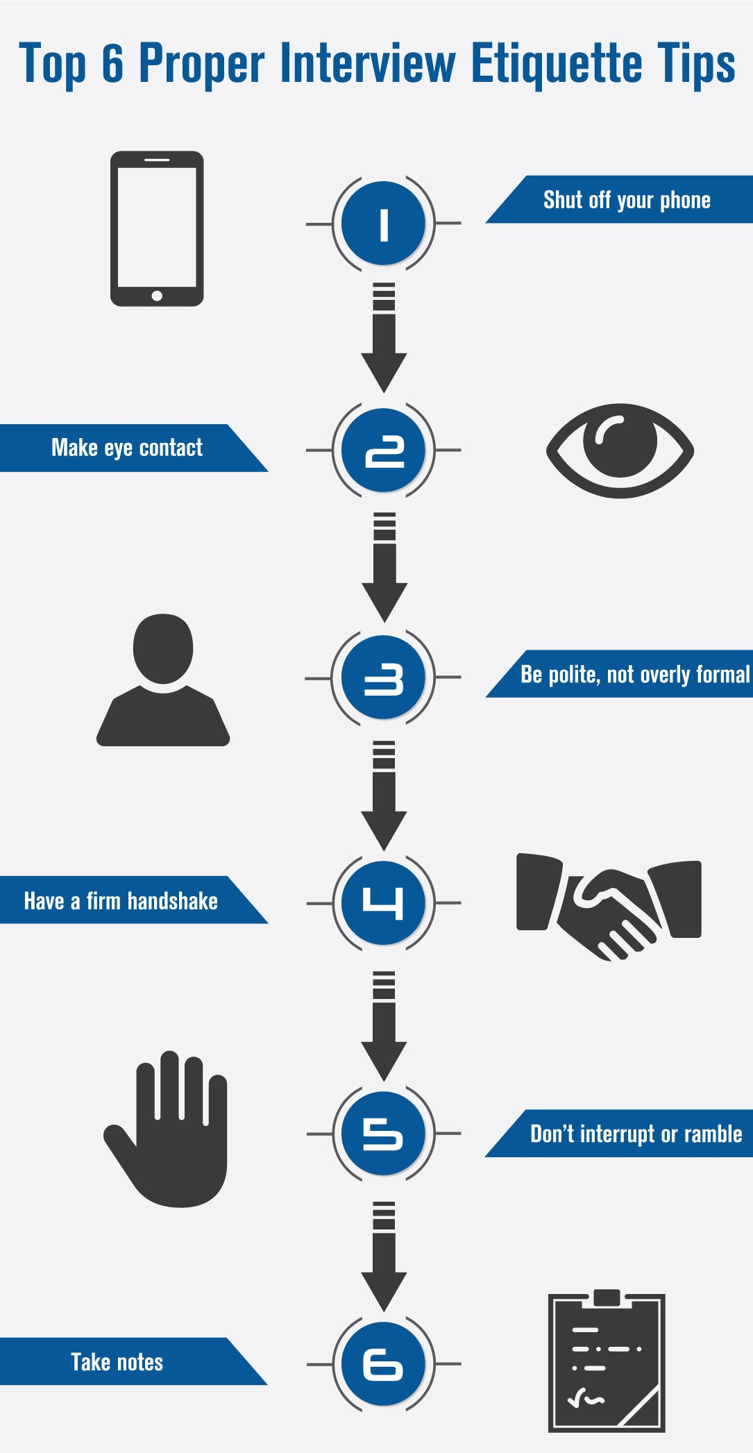 Top 6 Proper Interview Etiquette Tips Infograph