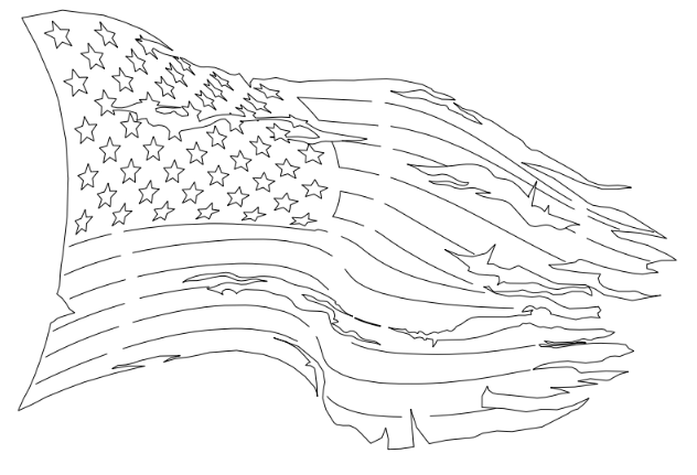 Tattered American Flag DXF