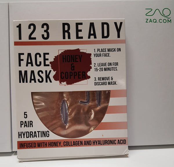 123 READY HONEY & COPPER HYDRATING GEL FACE MASK 5PC