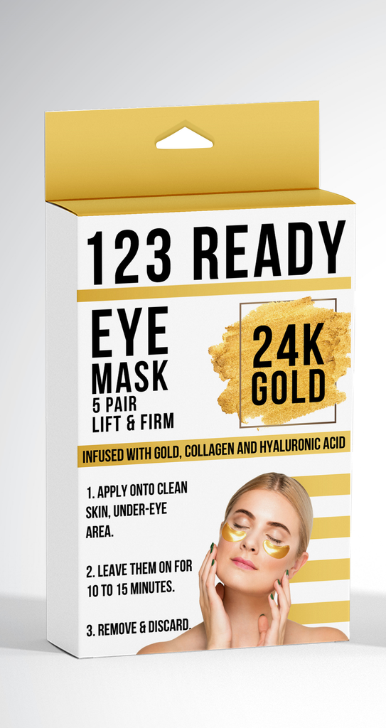 123 Ready 24K GOLD LIFT & FIRM GEL EYE PATCHES 5 PC