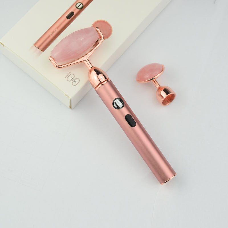 ZAQ Sana Rose Quartz USB Rechargeable Vibrating Changeable Face Rollers - 3 Speed