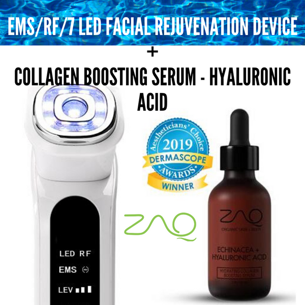 ZAQ EMS/RF/7 LED Facial Rejuvenation Device + HYDRATING COLLAGEN BOOSTING SERUM - HYALURONIC ACID