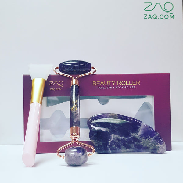 ZAQ Amethyst Facial Roller, Gua Sha, Brush Set 2019