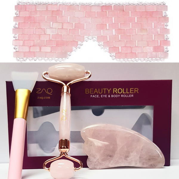 ZAQ Rose Quartz Eye Mask + Rose Quartz Facial Roller, Gua Sha, Brush Set