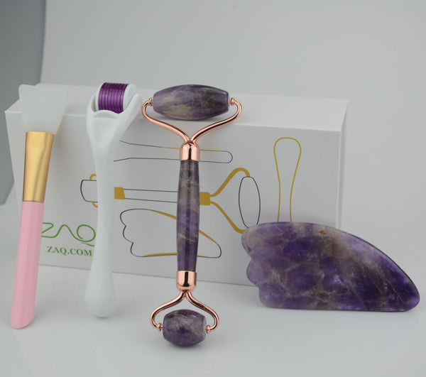 Amethyst Facial Roller, Gua Sha, Brush and DERMA ROLLER Set