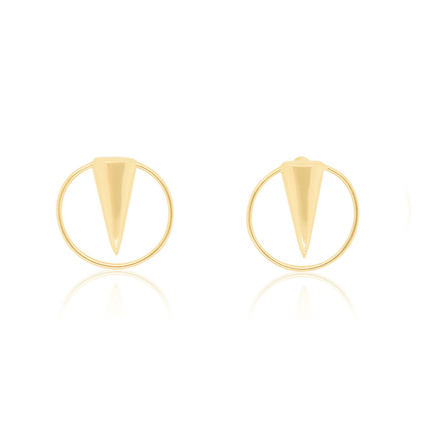 Geometric Spike Stud Earrings in Yellow Gold