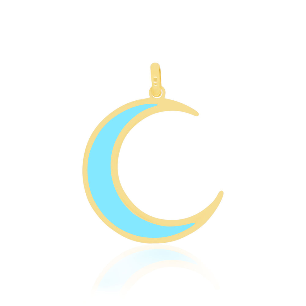 Large Turquoise Crescent Moon Charm