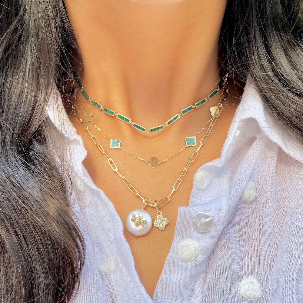 Mini Malachite and Gold Clover Necklace