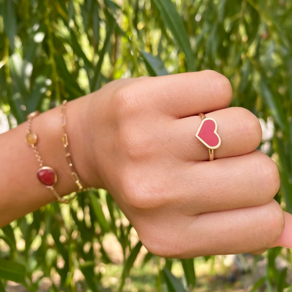 Coral Heart Ring
