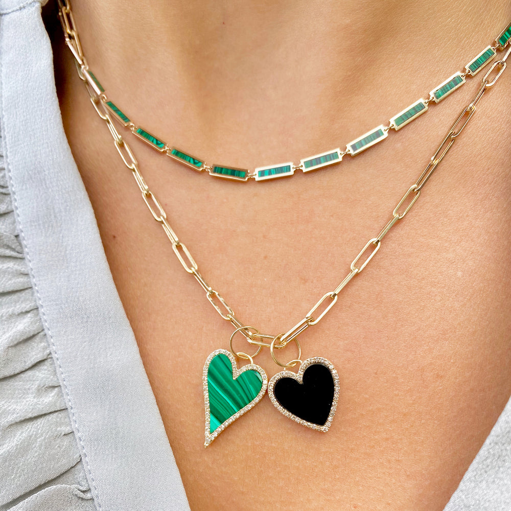 Malachite Heart Halo Charm