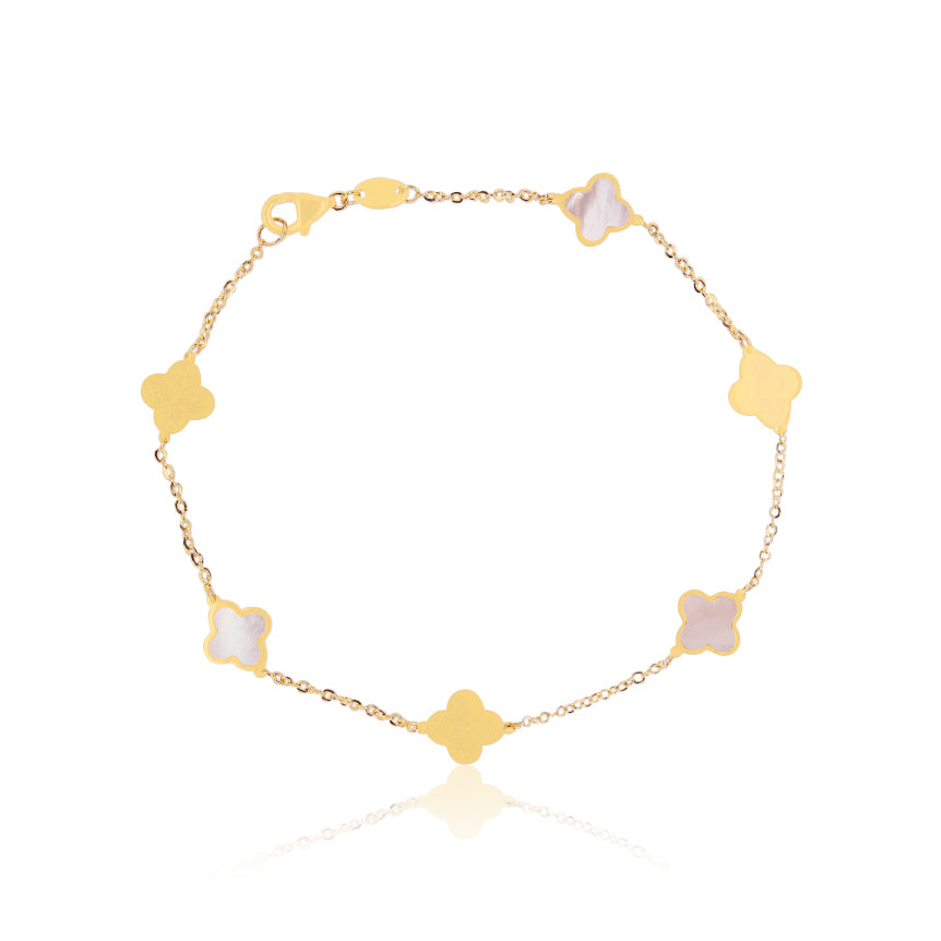 Mother of Pearl and Gold Clover Bracelet