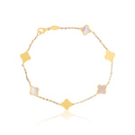 Mini Mother of Pearl and Gold Clover Bracelet