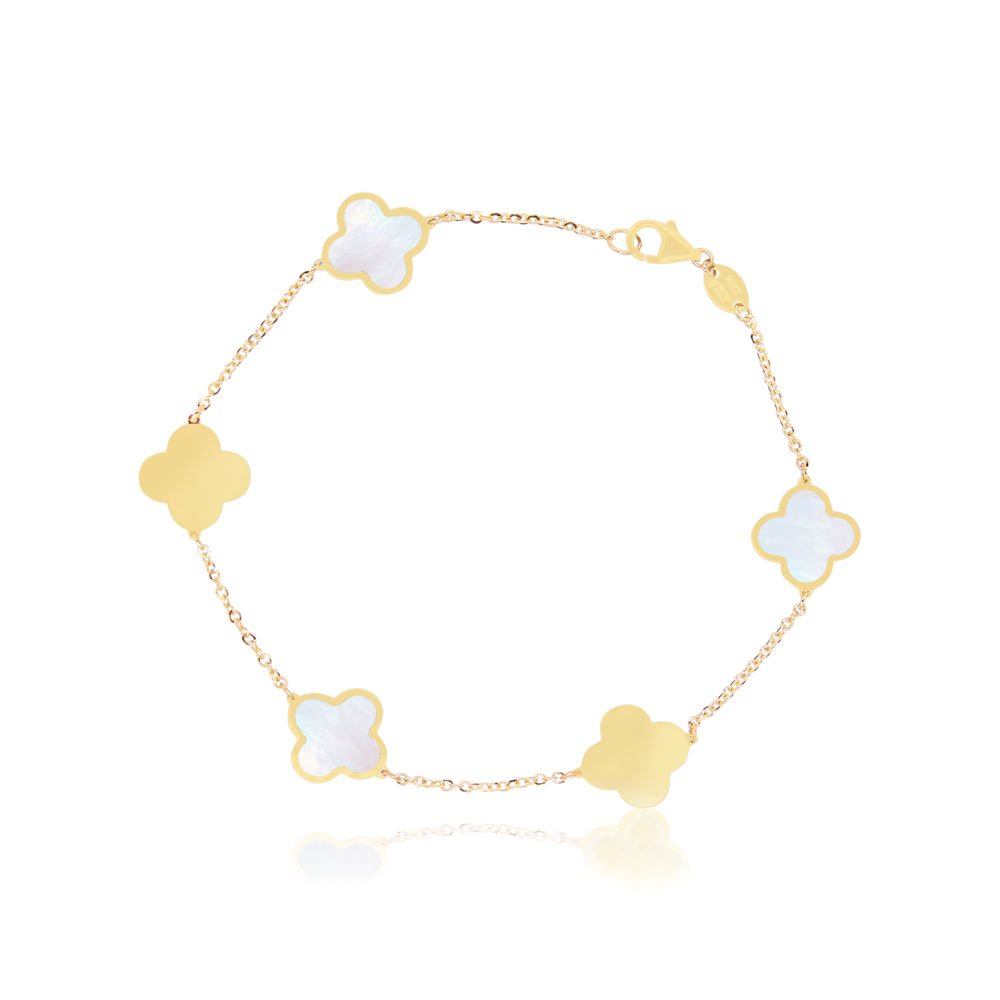 Large Mother of Pearl and Gold Clover Bracelet
